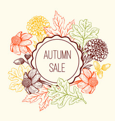 floral frame for seasonal fall sale vector image