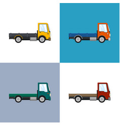four types of mini lorries without load isolated vector image