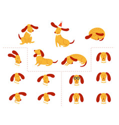 funny dog pet animation flat set vector image