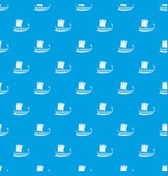 Galleon pattern seamless blue vector