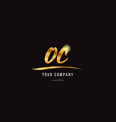 Gold alphabet letter oc o c logo combination icon vector