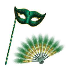 Green carnival venetian mask masquerade feather vector