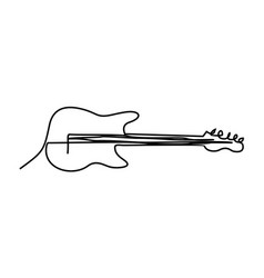 guitar drawing doodle line art vector image