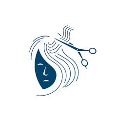 hairdressing salon hair stylist logo beauty girl vector image