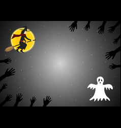 Halloween witch cauldron skull fly witch zombie vector