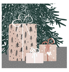hand drawn gift boxes under christmas tree vector image