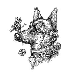 Hand drawn sketch of dog steampunk style vector