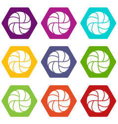 Handball icons set 9 vector