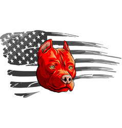 Head dog with american flag vector