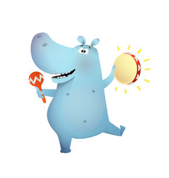Hippo or hippopotamus playing music and dancing vector