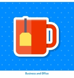 Icon red cup of tea vector