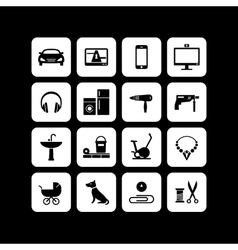 Icons of products categories Black vector