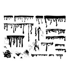 Ink paint streaks spots and splatters set vector
