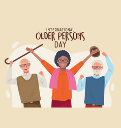 International older persons day lettering with old vector