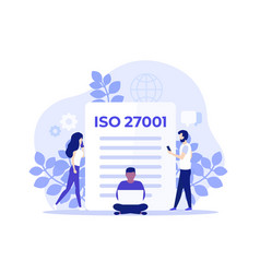 Iso 27001 certification and people art vector