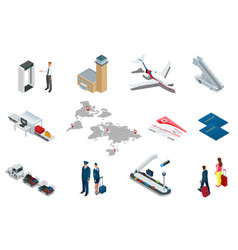 Isometric airport travel and transport icons vector