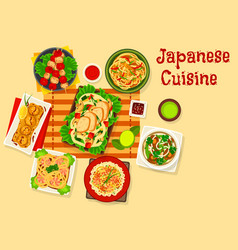 japanese cuisine seafood dinner dishes icon vector image