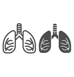 Lungs line and glyph icon human anatomy vector