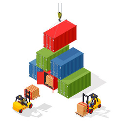 marine cargo port unloading of sea cargo vector image