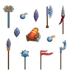 Medieval cartoon weapons game icons vector
