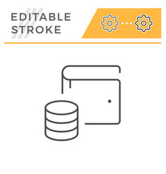 modern wallet editable stroke line icon vector image