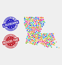 Module louisiana state map and grunge assembled vector