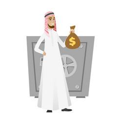 Muslim businessman holding a money bag vector
