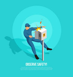 observe safety isometric background vector image