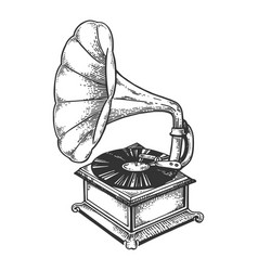 Old fashioned gramophone engraving vector
