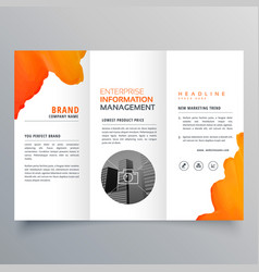 Orange watercolor trifold business leaflet vector