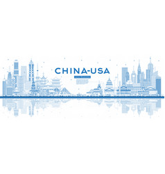 Outline china and usa skyline with blue buildings vector