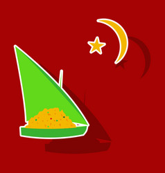 Paper sticker on theme arabic business ship vector