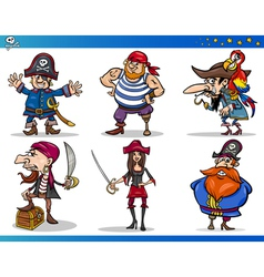 Pirates Cartoon Characters Set vector image