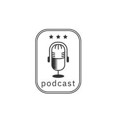 podcast vintage logo design inspiration mono line vector image