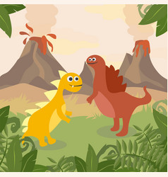prehistoric wildlife nature landscape with dinos vector image
