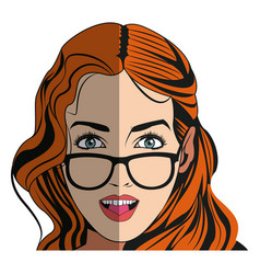Pretty girl with beautiful hair and attractive vector