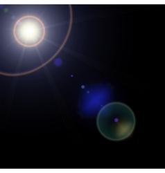 realistic lens flares star lights on transparent vector image