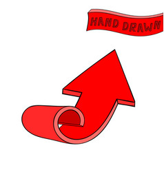 Red arrow up sign hand drawn sketch vector