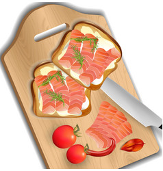 salmon sandwich realistic fresh sandwich vector image