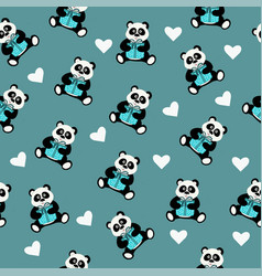 seamless pattern with an animal panda bear vector image