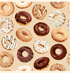 seamless pattern with high detailed donuts vector image