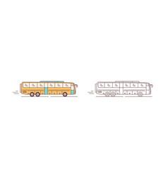 set color and monochrome modern passenger bus vector image