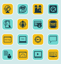 Set of 16 marketing icons includes video player vector