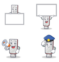 Set of flashdisk character with police board vector