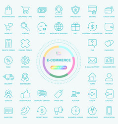 set of universal e-commerce and e-trade line icons vector image