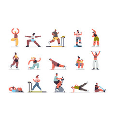 Set people doing exercises mix race men women vector