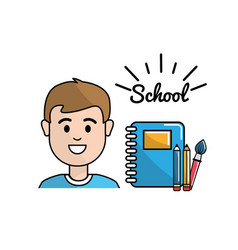 Student with rings notebook pencils and paint vector
