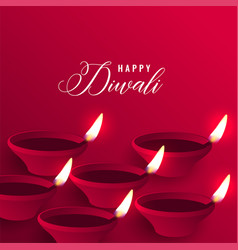 Stylish happy diwali red diya background vector