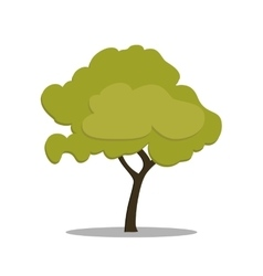Stylized green tree in cartoon style vector image