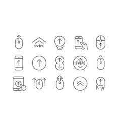 Swipe up line icons scrolling mouse landing page vector